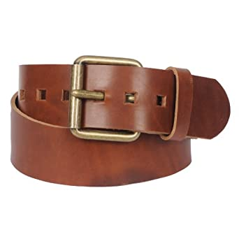 """Men's 2"""" Genuine Leather Belt with Fashion Metal Buckle By Gary Majdell Sport Tan 30"""
