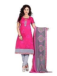 Subhash Sarees Daily Wear Dark Pink Color Chanderi Salwar Suit Dress Material