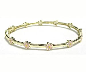 GoldTone Pink & Yellow Enamel Flowers Newborn Baby Infant Girl Bangle Bracelet 35mm
