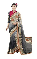 Suchi Fashion Charcoal And Grey Chinnon Embroidered Wedding Saree