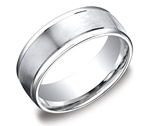 Men's Platinum 8mm Comfort Fit Plain Wedding Band with High Polished Round Edges and Satin Center Size 9.5