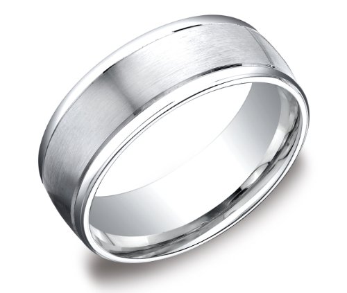 Men's Platinum 8mm Comfort Fit Wedding Band Ring with High Polished Round Edges and Satin Center, Size 9.5