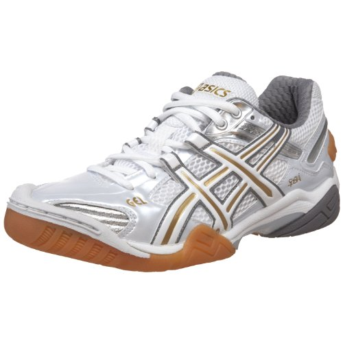 ASICS Women's GEL-Domain 2 Volleyball Shoe,White/Lightning/Metallic Gold,7 M US
