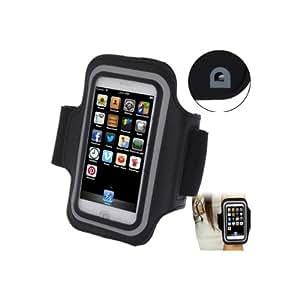 Brassard sport tour de bras noir pour iphone 5 et 5S idéal pour les sportifs, course à pied ou salle de sport avec trous pour écouteurs, bande réflechissante et pochette pour clé.