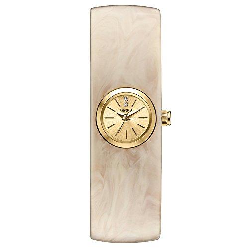 Caravelle New York 44L136 - Reloj analógico de cuarzo para mujeres, correa de plástico, color blanco