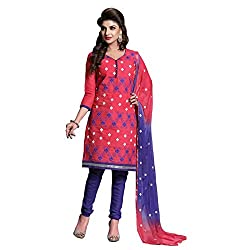 Paridhan Women'S Pink Arcandi Cotton Embroidered Suit 012