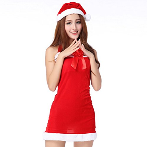 Lanue® Women's Santa Claus Cosplay Skirts Christmas Xmas Fancy Dress Hat Set Costume