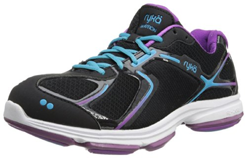 RYKA Women's Devotion Walking Shoe,Black/Dark Purple/Light Blue,9 M US