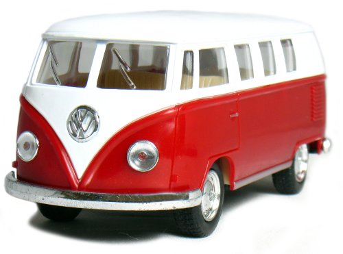 "Castle Toys 5"" Pull Back n Go Action Die-Cast 1962 VW Classic Bus (1/32 Scale), Maroon - 1"