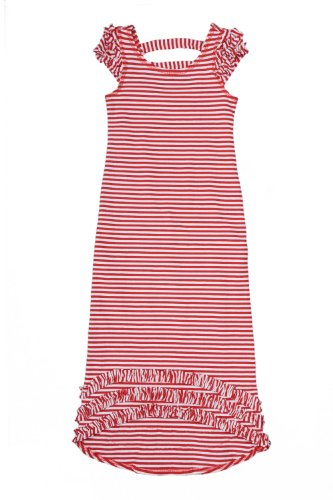 Kate Mack – Red Regatta Girl's Striped Knit Maxi Dress in Red / White – Size 7