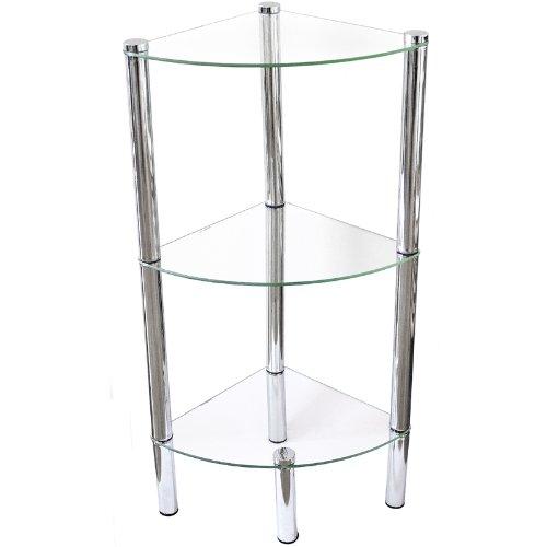 Bath Corner Shelf with 3 Glass Units and Chrome Framework