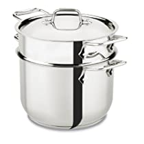 All-Clad E414S664 Stainless Steel Pasta Pot and Insert Cookware 6-Quart Silver