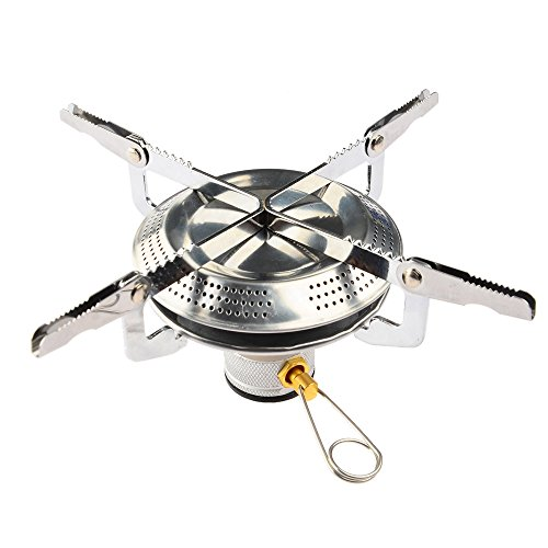 Camping Stove, Petforu Mini Folding Stainless Steel Outdoor Camping Gas Butane Propane Stove Burner Cookware (Stainless Steel Outdoor Cookware compare prices)