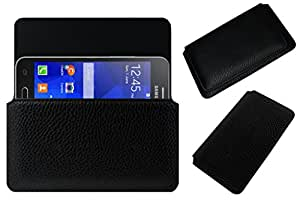 Acm Horizontal Leather Case For Samsung Galaxy Core 2 Mobile Cover Carry Pouch Holder Black