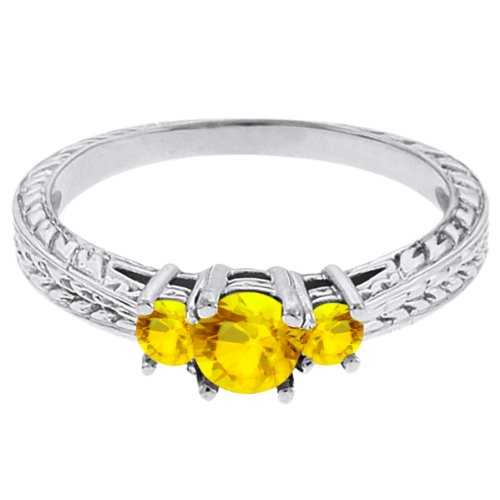 0.62 Ct Round Yellow VS Sapphire 14K White Gold 3-Stone Ring
