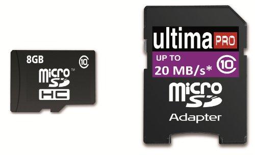 Memzi SDHC-Speicherkarte (8 GB, Class 10, 20MB / s Ultima Pro Micro SDHC Speicherkarte mit SD-Adapter für Sony Action Cam Series Digital Camcorder
