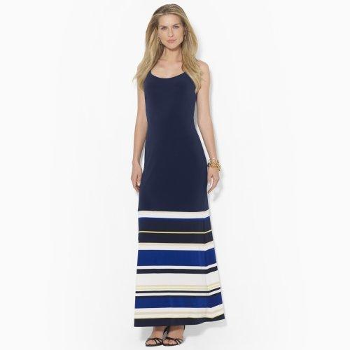 Ralph Lauren Striped Sleeveless Jersey Dress, Navy Multi (4)