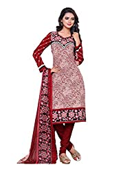 SayShopp Fashion Women's Unstitched Regular Wear Cotton Printed Salwar Suit Dress Material (ZDM-35_Red_Free Size)