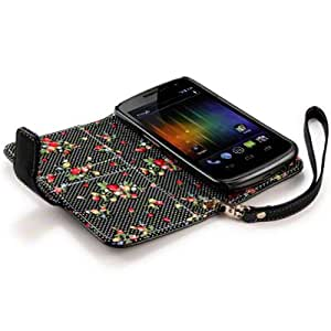 Terrapin Premium PU Leather Wallet Case/Cover/Pouch/Holster with Floral Interior for Samsung Galaxy Nexus - Black