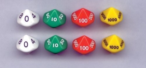 Place Value Dice; 10 Sided - 2 Sets of 4 Dice; no. KOP11871