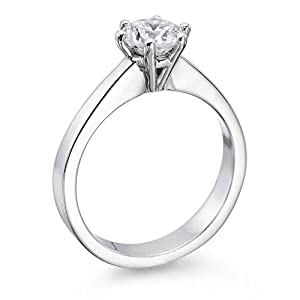 GIA Certified, Round Cut, Solitaire Diamond Ring in 14K Gold / White (1 ct, E Color, VS2 Clarity)