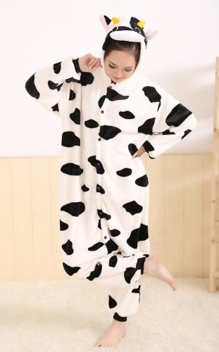 Winter Cow Pajamas Cosplay Costume Footed Sleepwear For Women Men