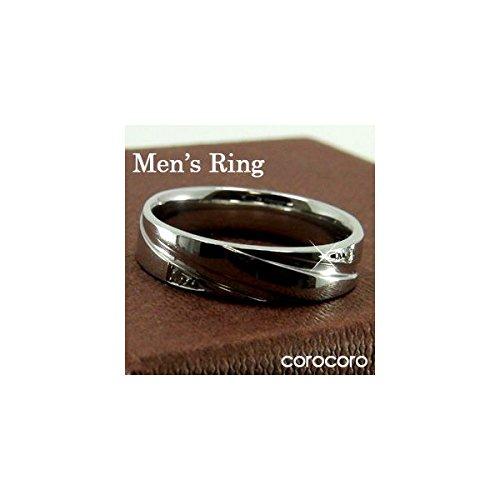 メンズプラチナダイヤモンド付リング指輪 シンプル男性用リング