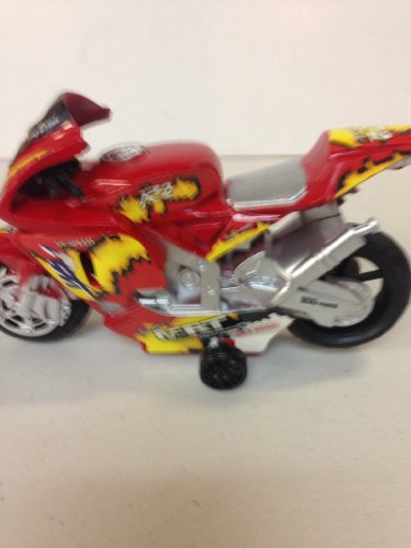 """MOTORCYCLE"" RED Racing Motorcycle. Friction Motorcycle With Sound & Light. Batteries Included. Racing Motorcycle Series. 5.5"" Long & 3"" Tall. Collect All Three: Available Colors Silver 