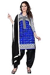 BanoRani Blue & Black Color Cotton Printed Patiala Unstitched Dress Material