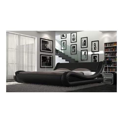 Double Faux Leather Bed Frame Designer Black