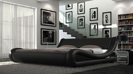 5ft King Size Black European Style Designer Bed