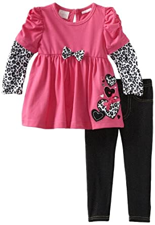 Nannette Baby-girls Infant 2 Piece Leopard Jegging Set, Pink Doll, 18 Months