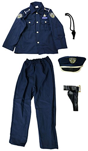 Dress Up Police Costume for Boys Size 4-10 Blue [201]
