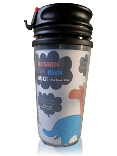 Custom Personalized Travel Mug Cup Tumbler 11.5 Ounce With Flip Up Top Dishwasher Safe For Coffee, Tea Or Other Liquids. Can Be Designed However You Want (Red)