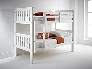 Atlantis White Bunk Bed, Standard Two Sleeper, Quality Solid Pine Wood BUNK BED with TWO Memory Foam Mattresses