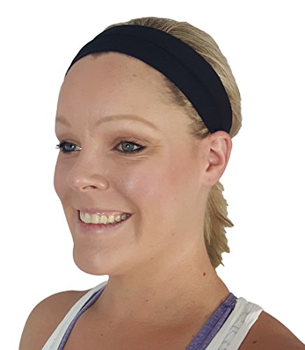 Shine Athletica Sports Headbands with Non-Slip Silicone. Sport Headband for Women, Teens, & Girls. Perfect for Workouts, Yoga, Running, or Casual Wear. (Black)