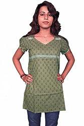 Miraaya Women's Top (M2575A_88622, Green, L)