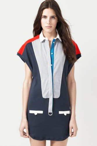 Fashion Show Short Sleeve Color block Polo Dress