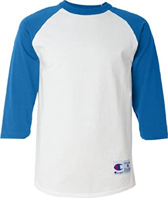 Champion Raglan Baseball T-Shirt T137, S, White/Team Blue