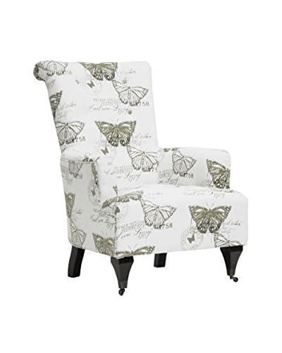 Baxton Studio Butterfly Deering Accent Chair, Beige