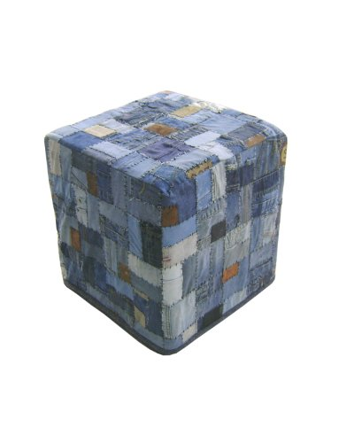 Home Collection 17.7-Inch Handmade Denim Patch Square Ottoman