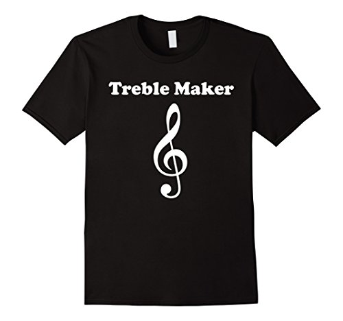 Treble Maker Treble Clef Funny Music T-Shirt - Male Medium - Black (Treble Maker compare prices)