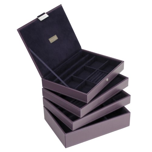 Stackers Jewellery Box | Classic Purple & Purple Velvet Stacker Set Of 4