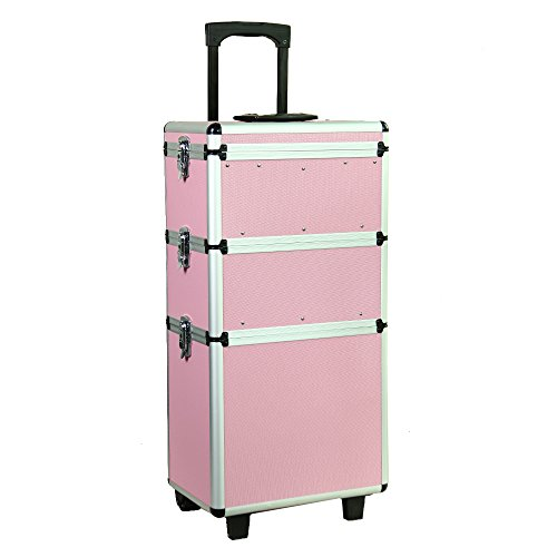 30 inch 3in1 Professional Trolley Train Case Hairdressing Makeup Storage Cosmetics Beauty Box Pink