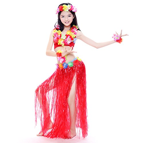 BellyLady Kid Tribal Belly Dance Latin Costume, Sleeveless Top and Floral Skirt