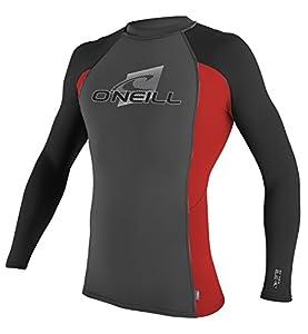 Basic Skins Long Sleeve Crew Surf Shirt, Black Red - Large