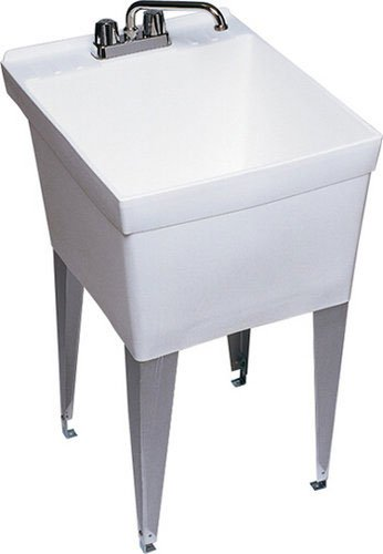 Swanstone SF-1F 24-Inch by 20-Inch Floor-Mounted Laundry Tub, White