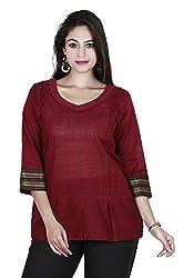 Eessence Women's Cotton Kurta (SCK09_MR_L, Red, L)