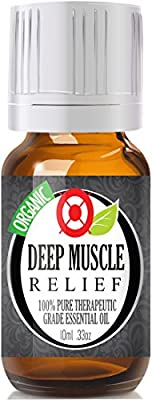 Deep Muscle Relief (Organic) 100% Pure, Best Therapeutic Grade Essential Oil - 10ml (Comparable to DoTerra's Deep Blue & Young Living's PanAway Blend)