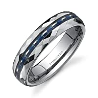 Faceted Edge Blue Carbon Fiber 6mm Comfort Fit Mens Tungsten Wedding Band Ring Size 8 to 13